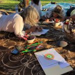 Group of people on grass drawing in paper | Wellness Retreat Image - Haven Yoga & Meditation