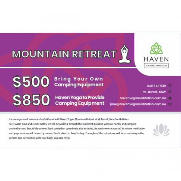 Mountain Retreat Voucher - Haven Yoga & Meditation