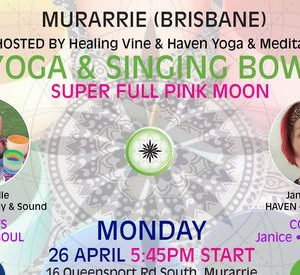 Poster for the Yoga & Singing Bowls: Super Full Pink Moon Event - Haven Yoga